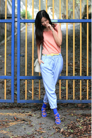 orange yull vest - blue naive overlap pants - pink vanity beauty shoes - yellow