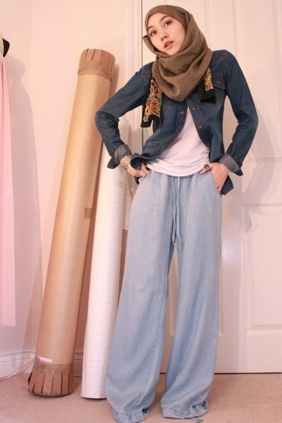 blue asos shirt - blue H&M jeans - green Moroccan market scarf - orange vintage