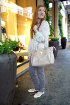 heather gray Tally Weijl jeans - neutral Tally Weijl bag - white Primark flats