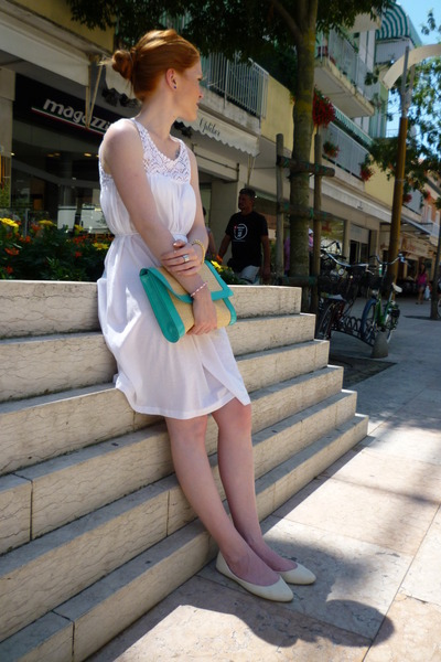 white H&M dress - turquoise blue H&M bag - ivory Primark flats