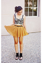 mustard Forever 21 skirt - black Forever 21 top