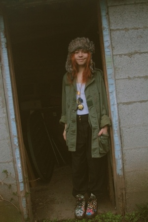 Jennifer hat - coat - Mango shirt - Topshop panties - Dr Martens shoes