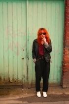 rayban glasses - Topshop blazer - H&M skirt - H&M jacket - Topshop pants - Repet