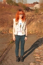 Big star blazer - Topshop t-shirt - Topshop jeans - Topshop shoes - rayban glass