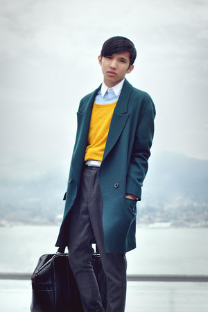 teal Zara coat - gold H&amp;M sweater - white oxford shirt MadetailorCustom shirt