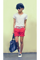 navy duffel Zara bag - red shorts Zara shorts - white diy ribbon lace Spring sne