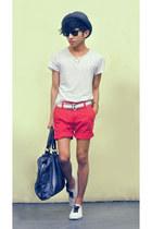 navy duffel Zara bag - red shorts Zara shorts - white diy ribbon lace Spring sne
