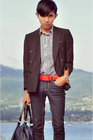 orange Tie-ups belt - black ciglliano blazer - black gingham shirt Zara shirt