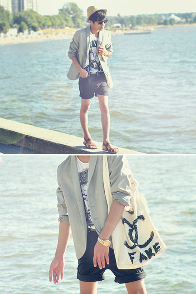 white graphic t-shirt Zara t-shirt - silver JNBY blazer - black DIY shorts