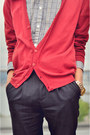 Red-zara-cardigan-dark-brown-brogues-doc-martens-shoes