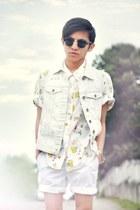 light yellow liz claiborne shirt - white shorts H&M shorts