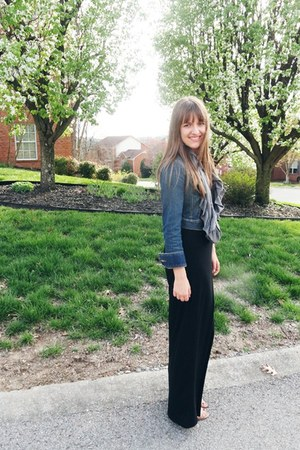 black maxi Forever 21 dress - blue jean Ann Taylor Loft jacket