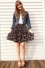 Blue-denim-ann-taylor-loft-jacket-black-floral-pleated-vintage-skirt-white-t