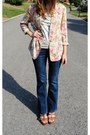 High-waisted-daisy-fuentes-jeans-floral-vintage-blazer-ruffled-anthropologie