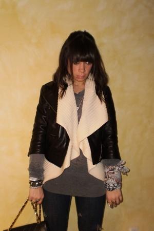 Halogen jacket - vest - alternative apparel t-shirt - scarf - JET jeans - BCBG b