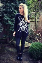 leather Topshop jeans - snowflake AX Paris jumper