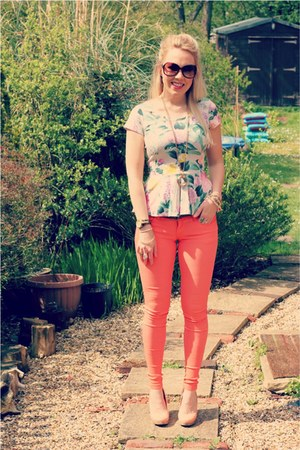 orange skinny OMGFashion jeans - floral peplum H&M blouse