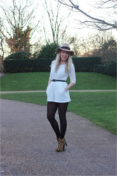 leopard print Zara boots - playsuit Boohoo dress - fedora Anthropologie hat