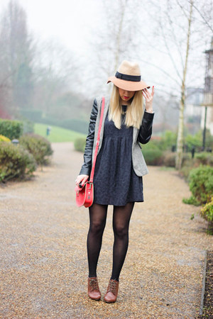 smock asos dress - fedora anthrpologie hat - Britstitch bag