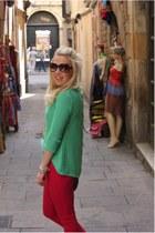 mint green knit Zara jumper - pink Zara jeans