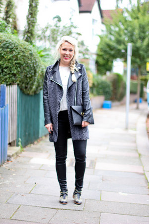leather sleeved Missguided coat