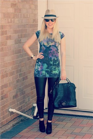 holly Mulberry bag - old River Island dress - leather Topshop jeans
