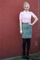 tweed H&M skirt - Lacoste top