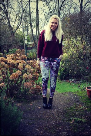 burgundy lavish alice jumper - print H&M pants