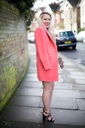pink coat Reiss coat - Lashes of London dress