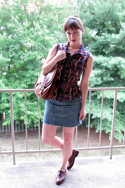 blue shirt - blue skirt - purple Forever 21 belt - brown Cole Haan shoes - brown