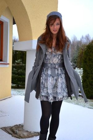 Zara boots - charcoal gray Zara dress - H&M hat - nude H&M blazer