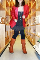 red leather Wilsons jacket - tawny heeled sears boots