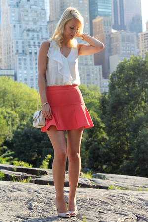 coral Guess skirt - white Michael Kors bag - white H&M top