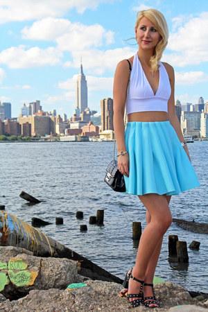 sky blue scuba Missguided skirt - black studded Michael Kors bag