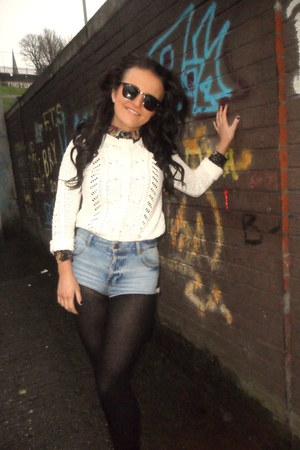 sky blue Topshop shorts - black Primark sunglasses - black Topshop blouse - ivor