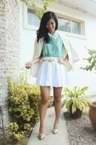 white Spruced Up skirt - aquamarine Style Hub top - gold Syrup heels