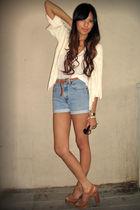white moth cardigan - white BDG blouse - blue vintage levis shorts - brown H&M b