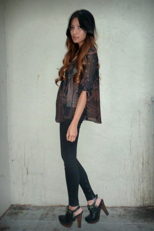 black Forever 21 blouse - black Joes Jeans jeans - black sam edelman clogs