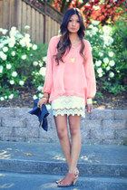 peach Lulus blouse - cream Lulus skirt - tawny Jeffrey Campbell sandals