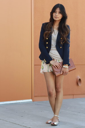 navy H&amp;M blazer - neutral H&amp;M shorts