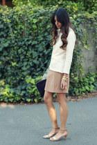 neutral Zara top - camel Forever 21 skirt