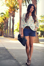 Navy-lucca-shorts-aquamarine-f21-blouse