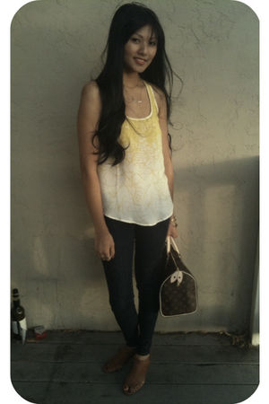 yellow Forever 21 top - blue Joes Jeans jeans - brown Jeffrey Campbell shoes - b
