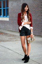 black f21 shorts - neutral H&amp;M blouse - brick red Zara cardigan