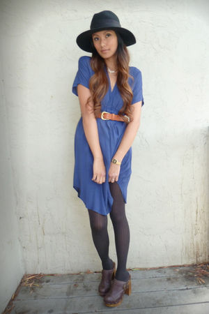 blue Lux dress - black fiesta hat - brown thrifted belt - brown Steve Madden