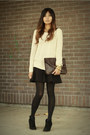 Ivory-sweater-dark-brown-f21-bag-black-zara-skirt