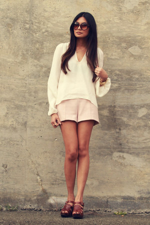 light pink Zara shorts - cream Stone Cold Fox blouse - dark brown Zara clogs