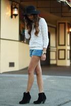 black asos boots - black asos hat - off white Zara sweater - blue Zara shorts