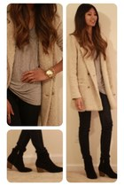 beige f21 coat - heather gray t by a wang t-shirt