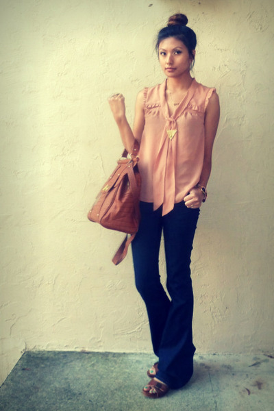brown asos bag - navy J Brand jeans - salmon H&amp;M blouse - brown Zara clogs